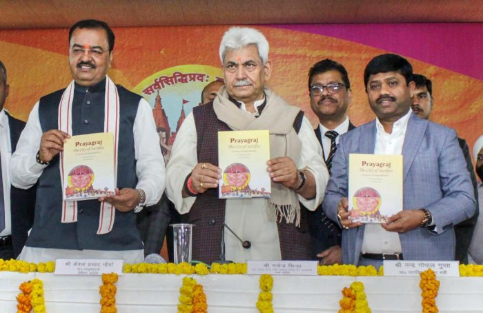 Union Minister of State for Communications Manoj Sinha with UP Deputy Chief Minister Keshav Prasad Maurya and Minister of Stamp and Civil Aviation Nand Gopal Gupta Nandi releases a postal stamp on the Kumbh Mela during the ongoing Kumbh Mela-2019, in Prayagraj (Allahabad), Saturday, February 2, 2019. (PTI Photo)   ajmal v – Sat, 2. February 2019 3:20 PM – All Lok Sabha constituencies to have passport centres soon: Manoj Sinha All Lok Sabha constituencies to have passport centres soon: Manoj Sinha Allahabad