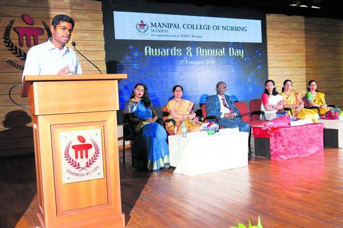 DCP of South Bengaluru K Annamalai speaks at the 29th awards and annual day celebrations of Manipal College of Nursing, MAHE, Manipal.