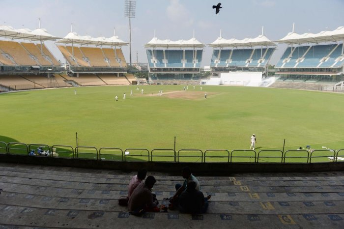 This photograph taken on December 7, 2018 shows empty stands during the Ranji Trophy match between Tamil Nadu and Kerala at the M.A. Chidambaram cricket stadium in Chennai. AFP.
