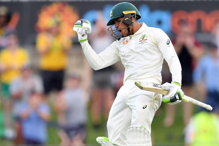 Australia's Usman Khawaja celebrates his century on the day three of the second Test against Sri Lanka in Canberra on Sunday. AFP