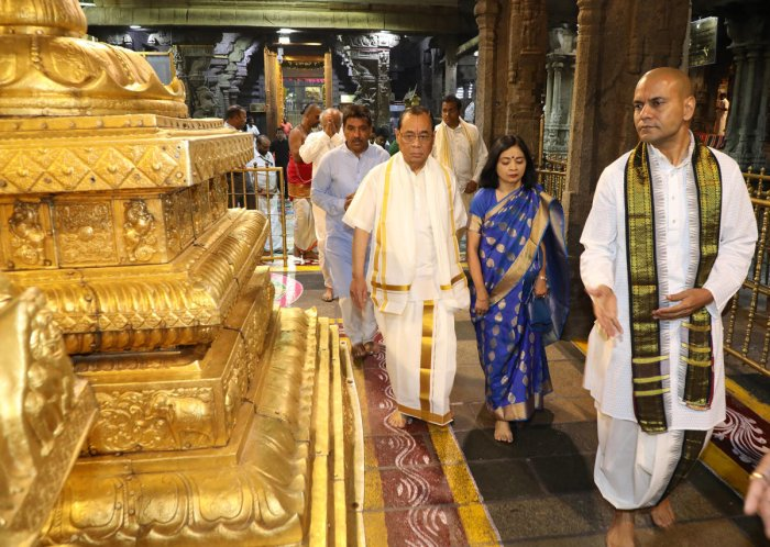 Chief Justice of India Ranjan Gogoi at the temple of Lord Venkateswara in Tirumala on Sunday evening.