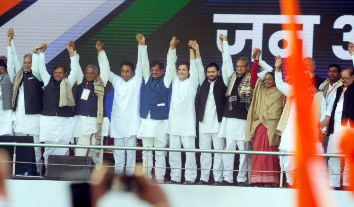 Congress President Rahul Gandhi, Madhya Pradesh Chief Minister Kamal Nath, Rajasthan Chief Minister Ashok Gehlot, Chhattisgarh Chief Minister Bhupesh Baghel and alliance leaders during 'Jan Akanksha Rally' at Gandhi Maidan in Patna on February 3, 2019. PT