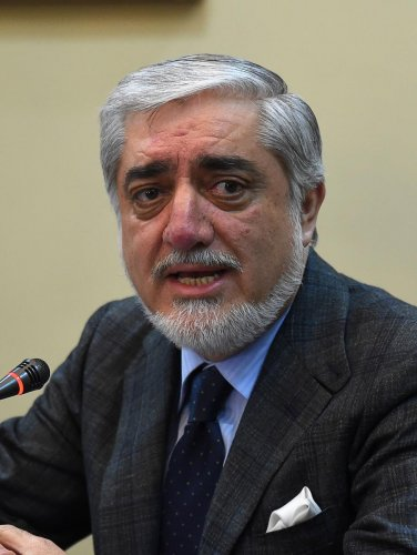 Afghan Chief Executive Officer Abdullah Abdullah looks on as he speaks during a press conference at Sapedar palace in Kabul on February 4, 2019