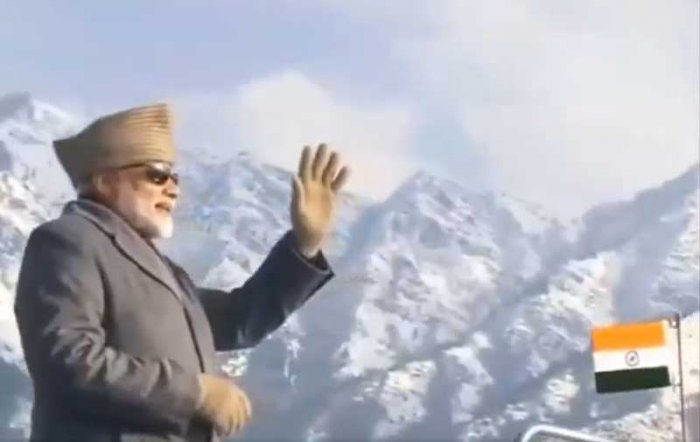 Screenshot of the video, in which Modi is seen waving during his Dal Lake tour.