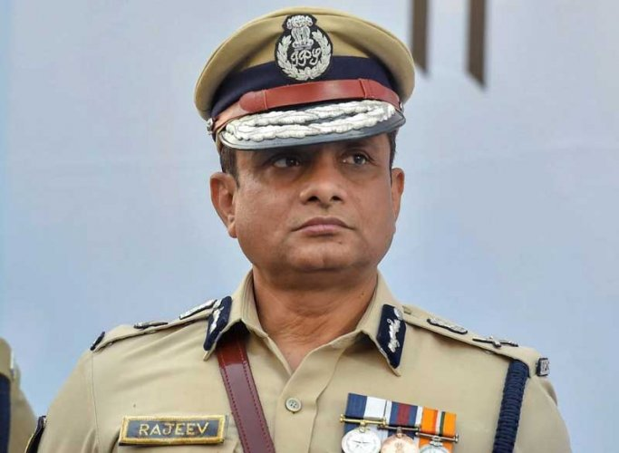 Kolkata Police commissioner Rajeev Kumar during the Joint Investiture Ceremony of West Bengal Police and Kolkata Police, in Kolkata on Monday. (PTI Photo)