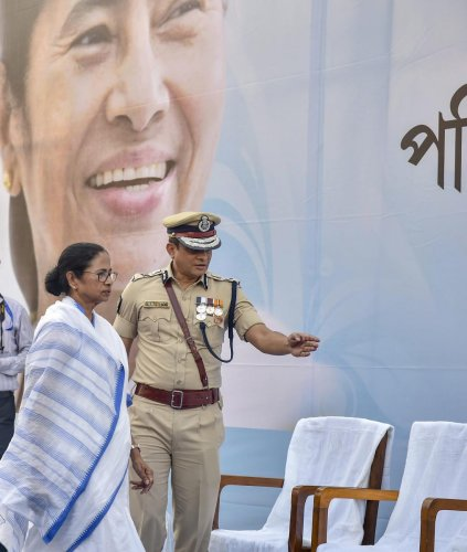 West Bengal CM Mamata Banerjee with Kolkata Police Commissioner Rajeev Kumar during the Joint Investiture Ceremony of West Bengal Police and Kolkata Police, in Kolkata, on February 4, 2019. PTI