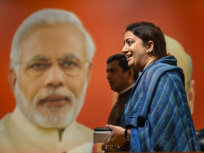 Union minister and BJP leader Smriti Irani at a press conference at the party office in New Delhi, Tuesday, February 5, 2019. PTI