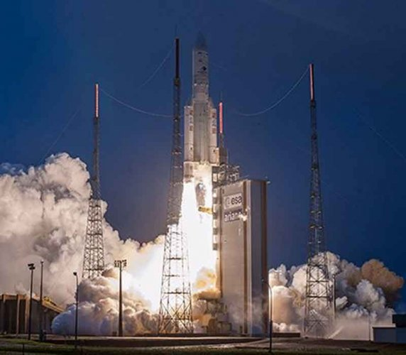 India's latest communication satellite GSAT-31 was successfully launched by European launch services provider- Arianespace's rocket from French Guiana in the early hours of Wednesday. Picture courtesy ISRO