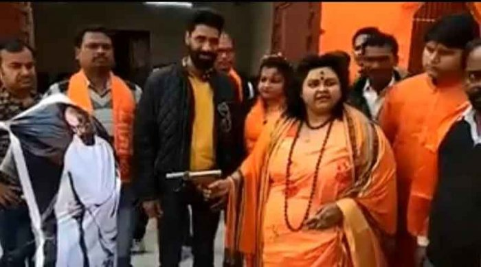 Hindu Mahasabha extremist Pooja Shakun Pandey who shot an effigy of Mahatma Gandhi with an air pistol to mark his assassination has been arrested, police said Wednesday. Screengrab.