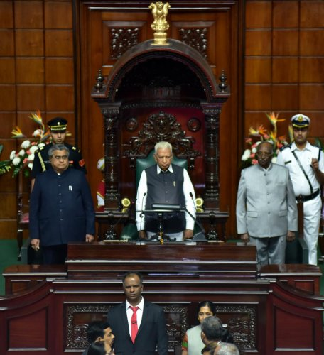 Opposition BJP in Karnataka on Wednesday disrupted Governor Vajubhai Vala's address to the joint sitting of the state legislature here. DH file photo