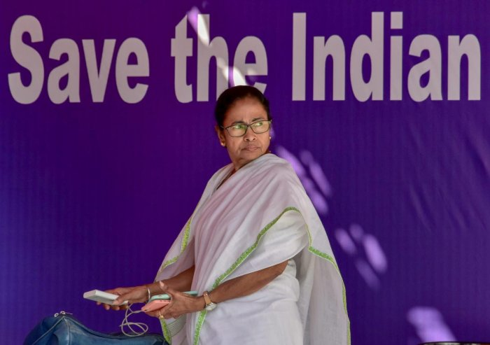 West Bengal Chief Minister Mamata Banerjee during a sit-in in Kolkata on Tuesday. PTI