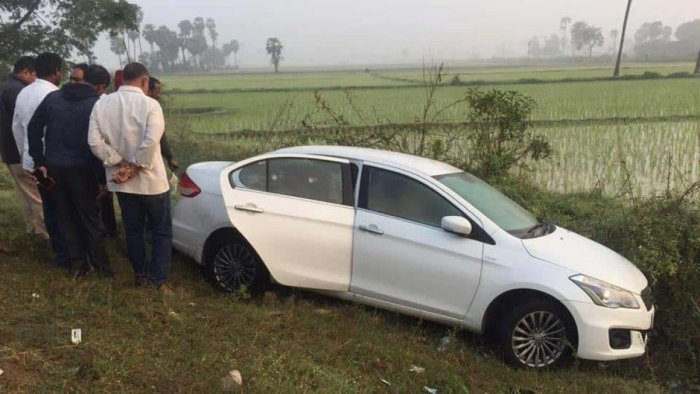 File photo of Chigurupati Jayaram and the car in which his body was found.