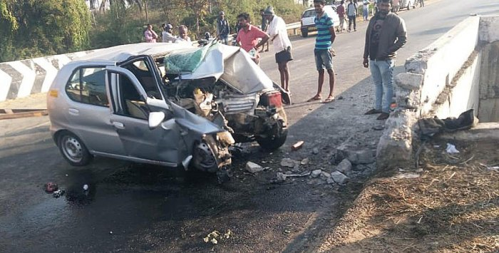 The car involved in the crash near Kudur on Tuesday morning.