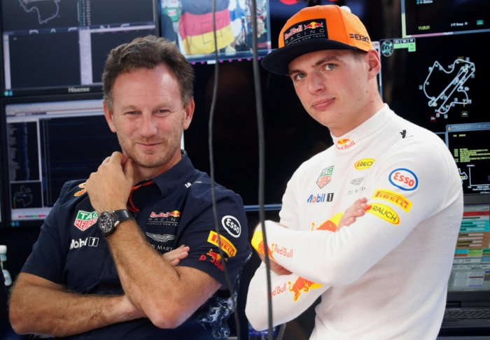 HIGH PRAISE: Red Bull's team principal Christian Horner (left) feels talented young driver Max Verstappen can really crank it up this season. REUTERS