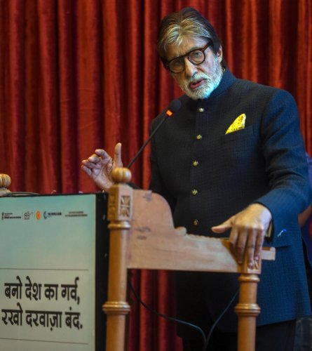Bollywood actor Amitabh Bachchan speaks during the launch of a campaign titled 'Darwaza Band-2' to promote toilet use and eliminate open defecation, in Mumbai on Wednesday. PTI