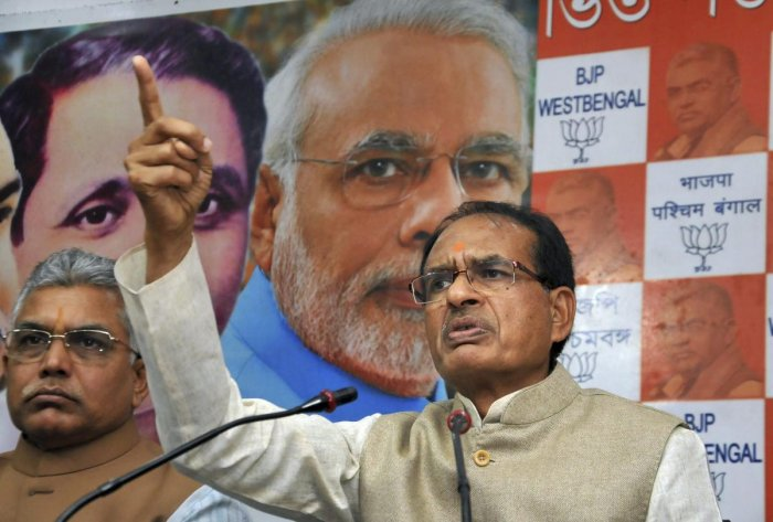 BJP National Vice President Shivraj Singh Chouhan addresses a press conference at the party office in Kolkata, Thursday, Feb. 7, 2019. (PTI Photo)