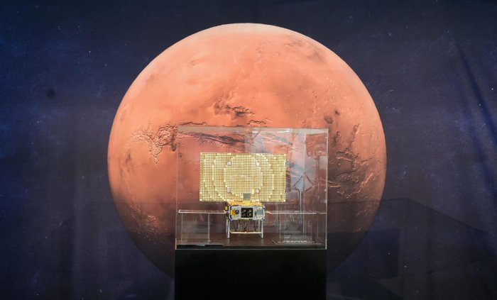 The MarCo, one of two CubeSats launched and following the InSight, marking the first time this kind of spacecraft has flown into deep space, is on display at the NASA Jet Propulsion Laboratory (JPL) in Pasadena, California on November 26, 2018 as exciteme