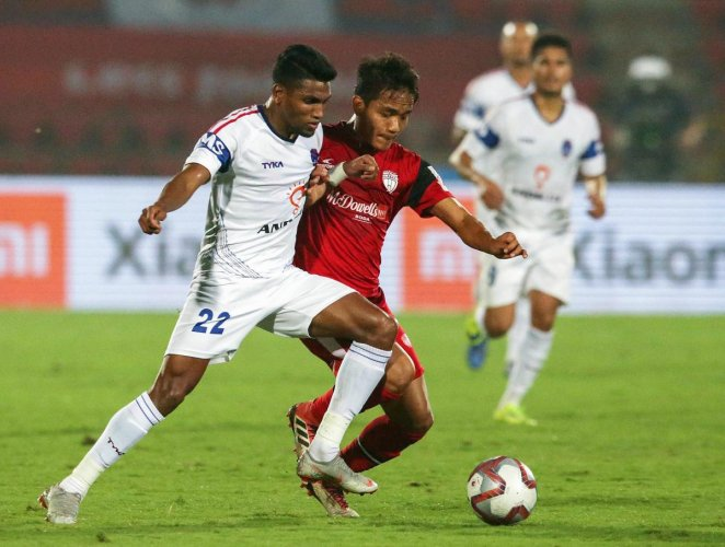 A slice of action from the ISL game between NorthEast United and Delhi Dynamos in the Indian Super League on Thursday. PTI