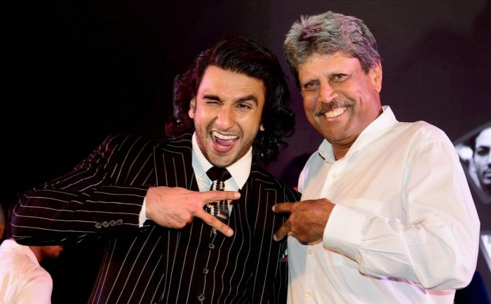 Bollywood actor Ranveer Singh and cricket legend Kapil Dev. (PTI File Photo)