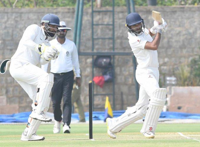 K V Siddharth performed brilliantly with the bat for Karnataka in the Ranji season. DH Photo/ Srikanta Sharma R