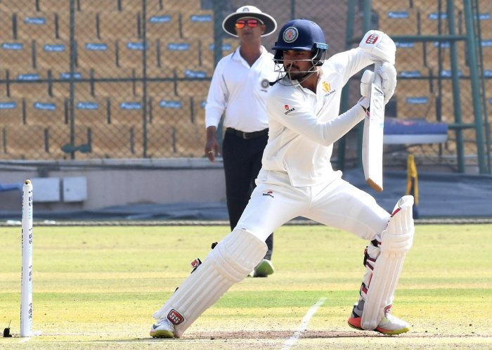 Karnataka's Manish Pandey during his unbeaten half-century against Rajasthan in the Ranji Trophy quarterfinal at the Chinnaswamy stadium in Bengaluru on Friday. DH Photo/ Srikanta Sharma R