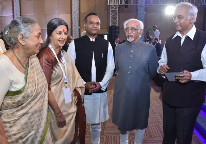Former governor of Rajasthan Margaret Alva, CPM leader Brinda Karat, Social Welfare Minister Priyank Kharge, former Vice President of India Mohammad Hamid Ansari and RSS idealogue Sehadri Chari at the Conversations of the Constitution in Bengaluru.
