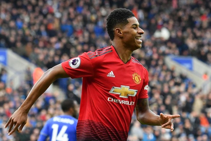 Manchester United's Marcus Rashford celebrates after scoring against Leicester City on Sunday. AFP