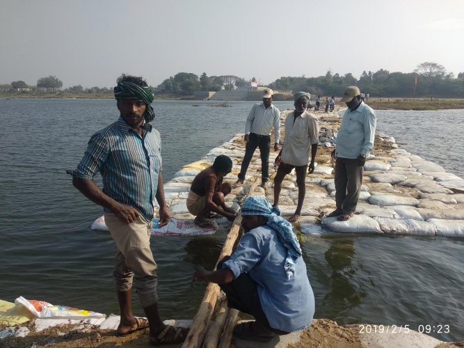 Workers lay the connecting bridge to the island at Triveni Sangama, in T Narsipur, Mysuru district, for the 11th Kumbha Mela.
