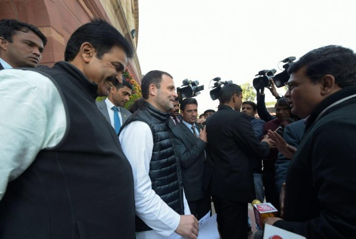Congress President Rahul Gandhi speaks to the media persons during the ongoing Budget Session of Parliament. PTI