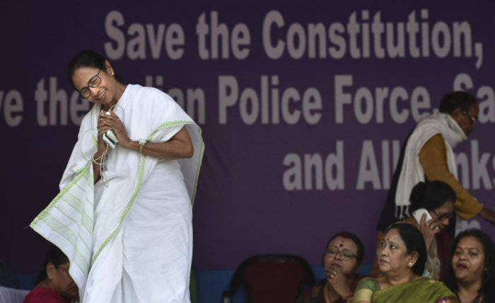 West Bengal Chief Minister Mamata Banerjee during the dharna over the CBI's attempt to question the Kolkata Police commissioner in connection with chit fund scams, in Kolkata. PTI