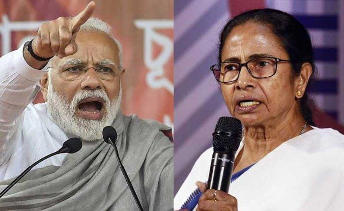 Prime Minister Narendra Modi and West Bengal CM Mamata Banerjee. (Collage of PTI Photos)