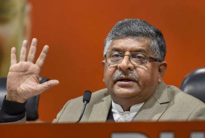 """Dismissing Gandhi's allegations, Union Law Minister and BJP leader Ravi Shankar Prasad said he was """"lying shamelessly"""" on the fighter jet deal and has got """"Rafale phobia"""". (PTI Photo)"""