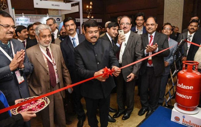 Union Minister for Petroleum & Natural Gas and Skill Development & Entrepreneurship Dharmendra Pradhan inaugurates the Indian Oil pavillion, on the sidelines of the Asia LPG Summit, in New Delhi, Tuesday, February 5, 2019. Secretary, Ministry of P