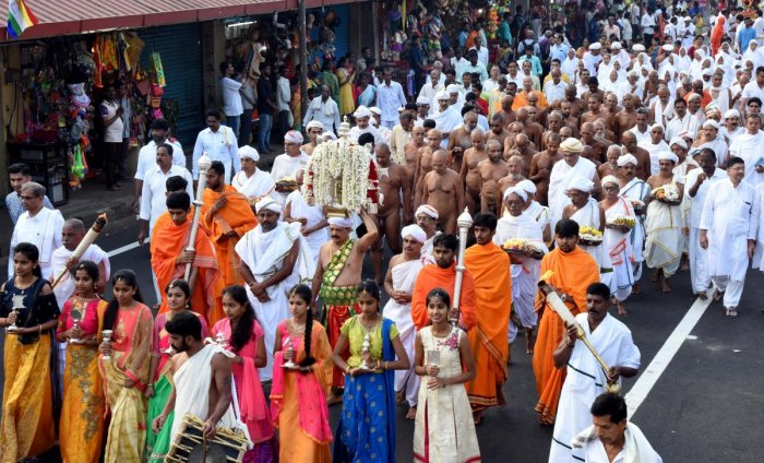 Agrodaka procession was taken out from Chandranatha Swami Basadi to Rathnagiri, in Dharmasthala on Saturday.