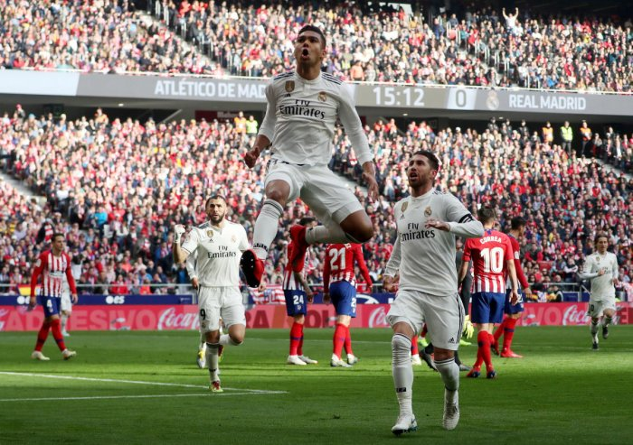 Real Madrid's Casemiro celebrates scoring their first goal. REUTERS