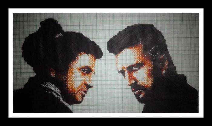 Pixel painting of Shivarajkumar and Sudeep from the film 'The Villian'.