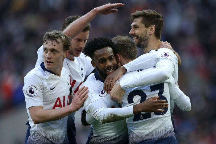 Tottenham Hotspur's Christian Eriksen (second from right) celebrates with team-mates after scoring against Leicester City in London on Sunday. AFP