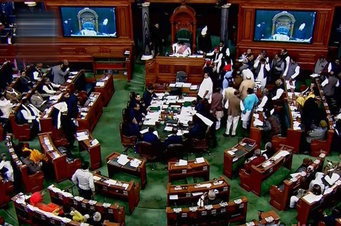 The Lok Sabha on Monday witnessed uproar over Bharatiya Janata Party's alleged bid to topple the coalition government of Congress and Janata Dal (Secular). PTI file photo