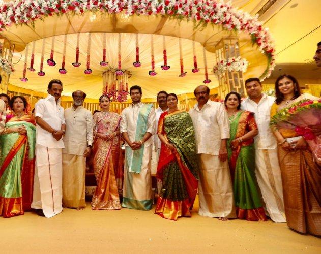 DMK President M K Stalin in the wedding reception of Soundarya Rajinikanth. (Photo by ETB Sivapriyan)