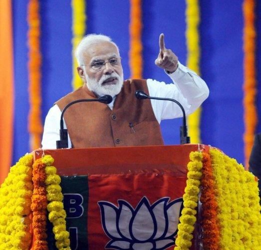 Prime Minister Narendra Modi addresses a BJP rally in Hubballi, Karnataka, Sunday, Feb 10, 2019. (PTI Photo)