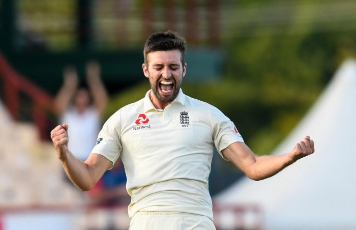 PUMPED UP: Mark Wood of England celebrates the dismissal of Shannon Gabriel of West Indies during the second day of the third Test on Sunday. AFP