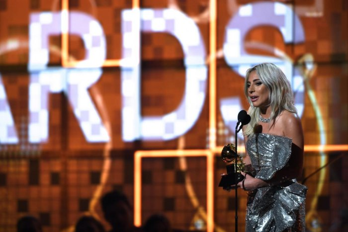 "Lady Gaga accepts the award for Best Pop Duo/Group Performance with ""Shallow"" during the 61st Annual Grammy Awards on February 10, 2019, in Los Angeles. (AFP photo)"