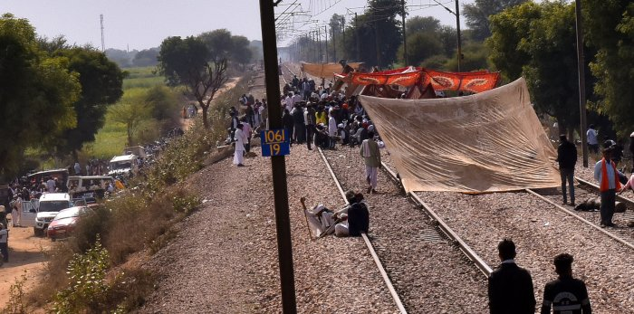 Gujjar protesters sitting on the tracks since the last five days. Photo: Suman Sarkar