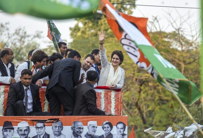 All India Congress Committee (AICC) general secretary of Uttar Pradesh east Priyanka Gandhi Vadra during a roadshow in Lucknow. PTI