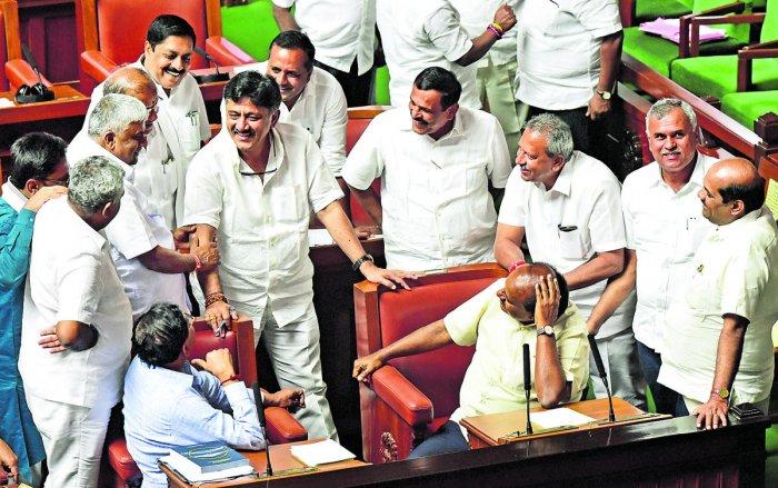 "As soon as the House met, a few ruling party members said Yeddyurappa should resign for trying to ""bribe"" Legislator Assembly Speaker K R Ramesh Kumar."