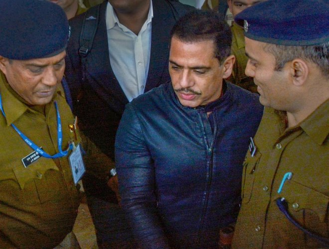 Businessman Robert Vadra arrives to appear before the Enforcement Directorate (ED) officials on Tuesday, Feb. 12, 2019, in connection with the alleged Bikaner land scam, at Jaipur Airport, Monday, Feb. 11, 2019. (PTI Photo)