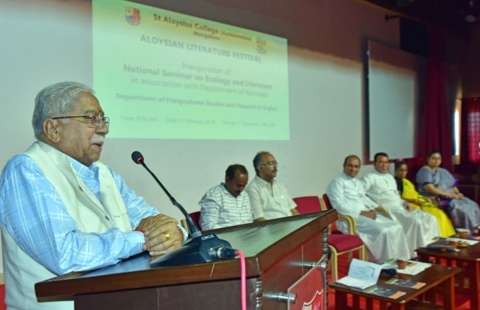 Jnanpith awardee Chandrashekar Kambar speaks at the inauguration of a two-day national seminar on 'Ecology and Literature' organised as a part of the Aloysius Literature Festival at St Aloysius College in Mangaluru on Monday.