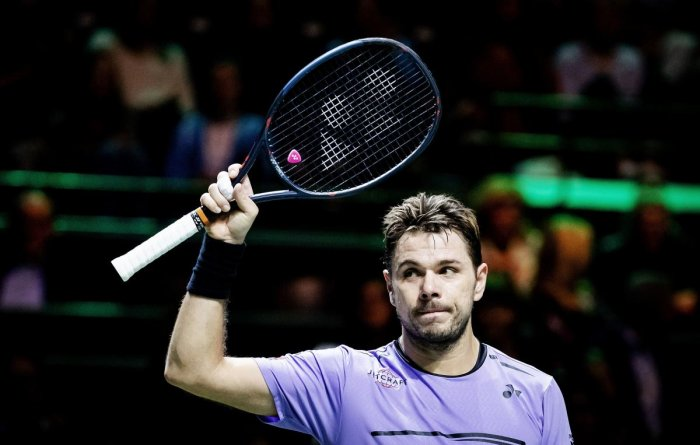 Switzerland's Stanislas Wawrinka celebrates his win over France's Benoit Paire in the first round of the Rotterdam Open. AFP