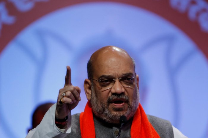Amit Shah, president of India's ruling Bharatiya Janata Party (BJP) addresses party workers in Ahmedabad, India, February 12, 2019. (REUTERS)