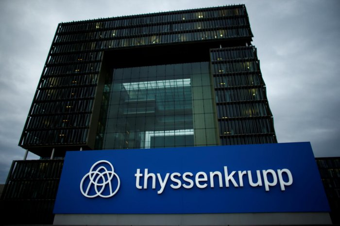 FILE PHOTO: A logo of ThyssenKrupp is pictured outside the ThyssenKrupp headquarters in Essen. REUTERS